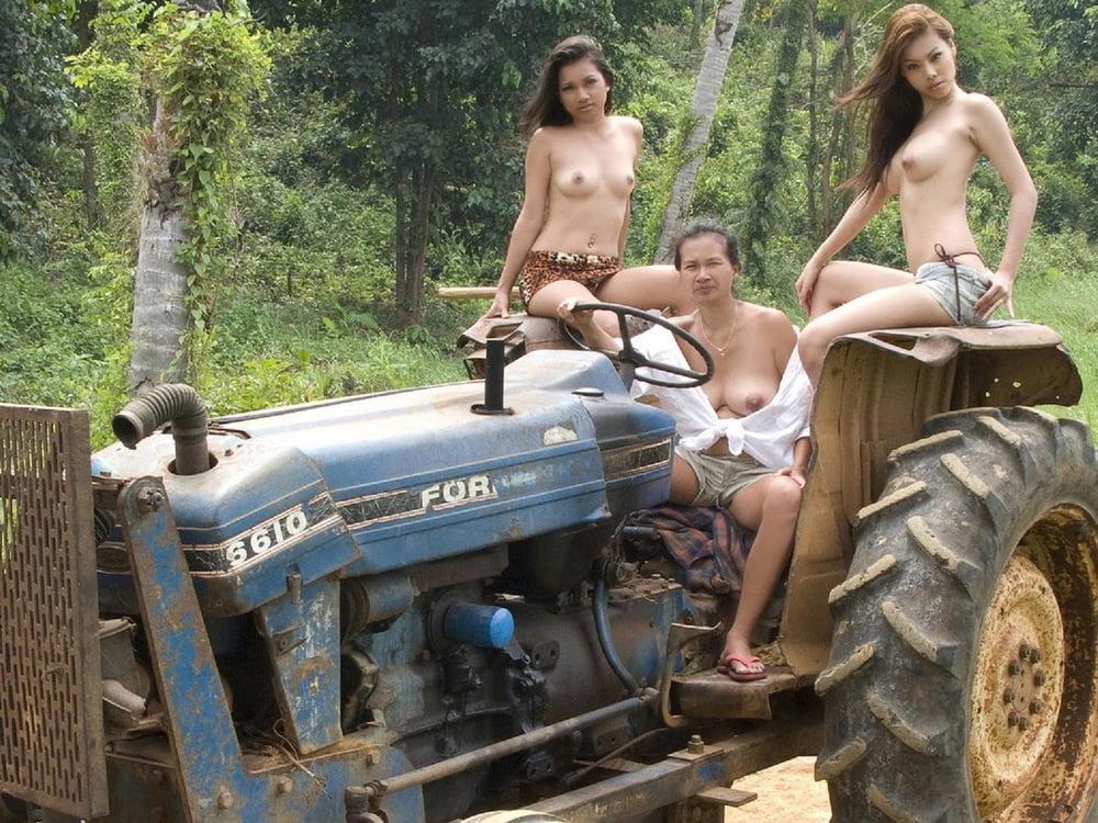 Nude Girl On Tractor