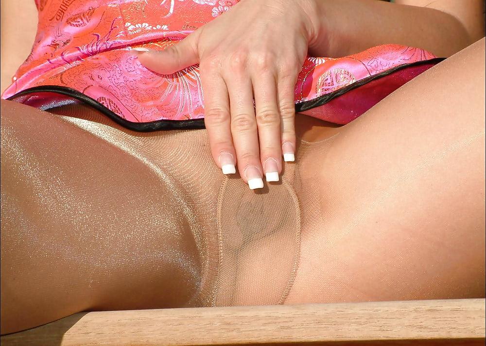 Shiny pantyhose nylons parade