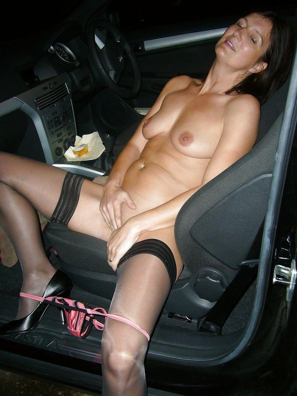 Nude in the car wifebucket