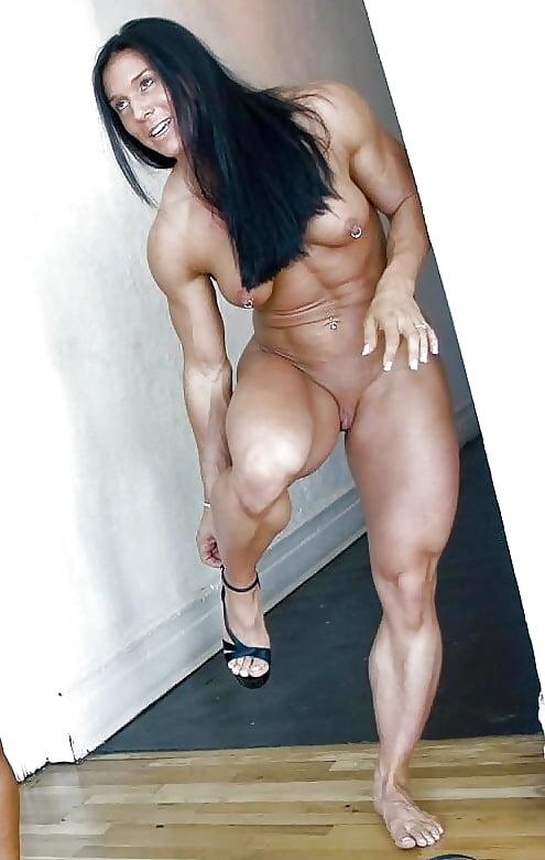 Asian Female Bodybuilder Poses Naked And Licks Her Huge Biceps