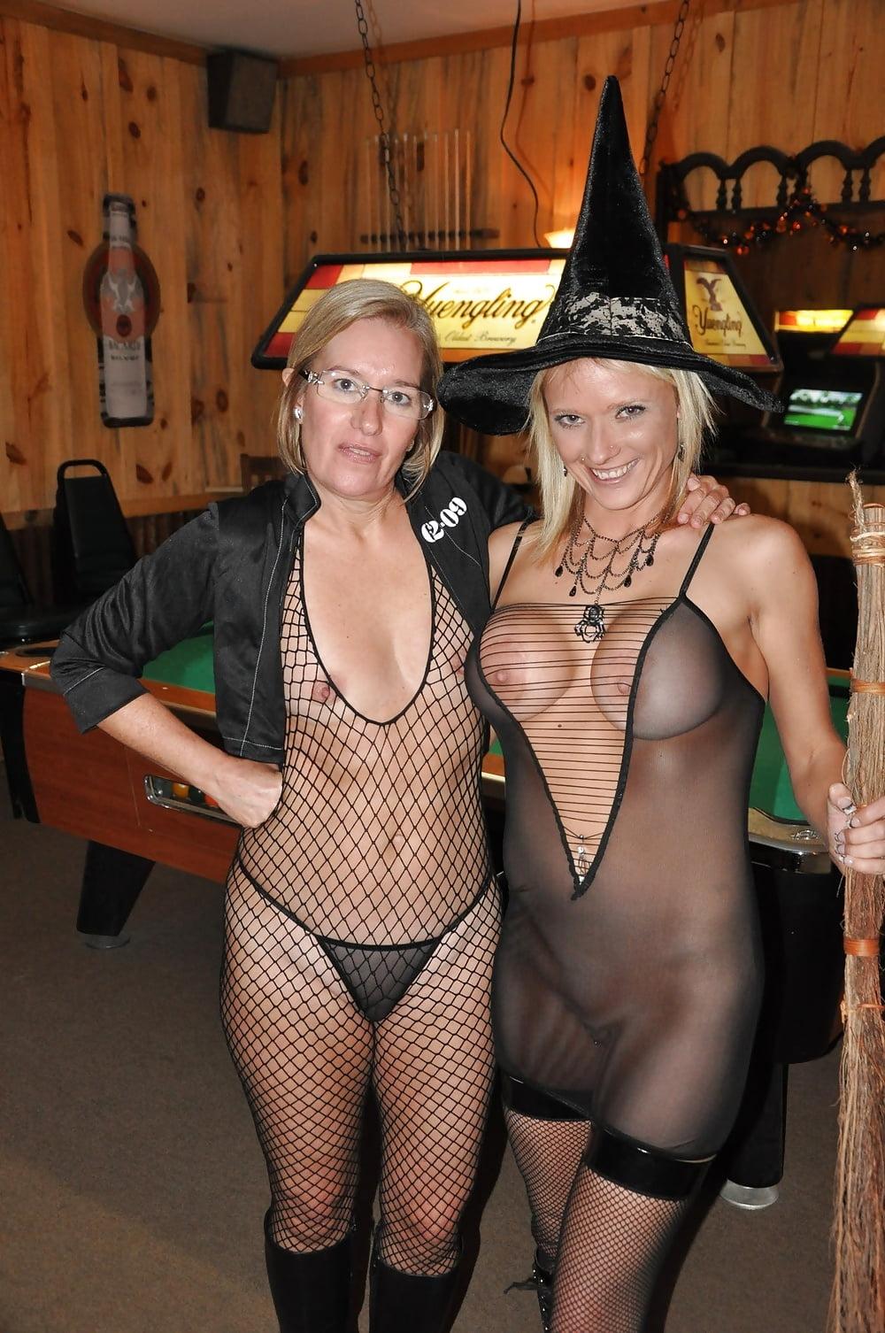 Window voyeur slutty girls fucking in halloween costume nude shower